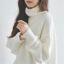 Womens White Knitted High Neck Sweaters Loose Casual Blouses Tops Outerwear