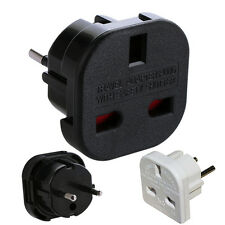 UK TO EU EURO EUROPE EUROPEAN TRAVEL ADAPTOR PLUG  2 PIN WHITE ADAPTER