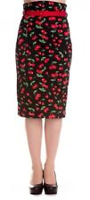 HELL BUNNY 50s CHERRY POP Retro rockabilly PENCIL wiggle SKIRT BLACK 8-22