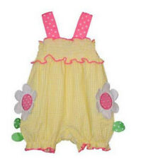 Girls Bubble Yellow Gingham Daisy Applique Bubble Infant Toddler Bonnie Jean NWT