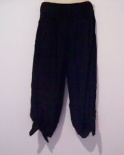 LADIES GO GIRL 3/4 TIE ROUCHED RAYON PANT BLACK, NAVY S/M. L/XL BLACK A/V IN XXL