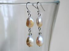 Freshwater Pearls Earrings Swarovski Crystals Fashion Jewelry Handmade by Yevga