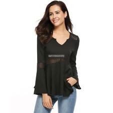 Women Casual Flare Sleeve V Neck Lace Splicing Tunic Pullover Chiffon ER99 01