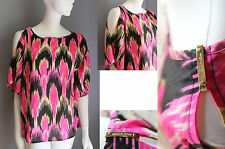Michael Kors Womens hot pink blouse top open shoulder gold hardware Logo Was $79