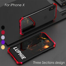CNC Aluminum Metal Bumper Case Slim PC Hybrid Glass Cover For iPhone X 8 7 Plus