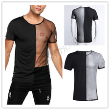 Men's Sexy See Through Fitted Top Tee Club Wear Mesh Tank Top T-Shirt Undershirt