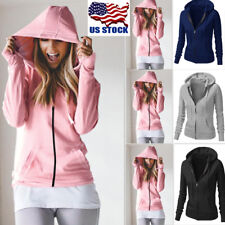 Women Casual Hoodie Sweatshirt Hooded Jacket Coat Hoody Zip Up Jumper Tops Shirt