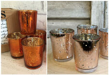 Set of 4 Mercury Glass Tea Light Votive Candle Holders Wedding Christmas Party