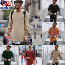 US Mens Slim Fit Pullover T Shirt Casual Long Sleeve O Neck Knitted Sweater Tops