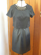 ATMOSPHERE PRIMARK BLACK FAUX LEATHER VEGAN SKIRT BEADED SPARKLE TOP DRESS 81614