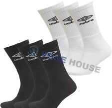 Mens 3, 6 Pairs Authentic Umbro Crew Sports Official Socks White Black Navy Gray