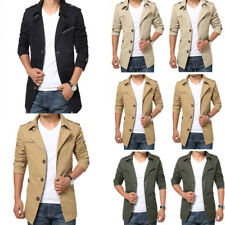 Mens Winter Coat Casual Outwear Trench Coat Warm Lapel Collar Botton Long Jacket
