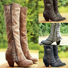 Womens Lace Side Zipper Knight Knee Block High Heels Boots Shoes Nightclub Shoes