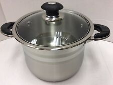 2Pcs/Set 18/10 Stainless Steel Pot with Glass Lid Supper Capsubled Bottom- NEW!