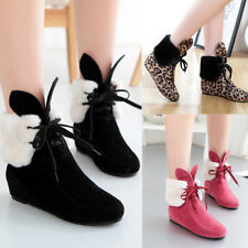 Cute Rabbit Ear Women's Wedge Ankle Snow Boots Warm Winter Casual Lace Up Shoes