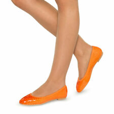 NEW Scarlettos Womens Shoes Premium Leather Orange Casual Flats