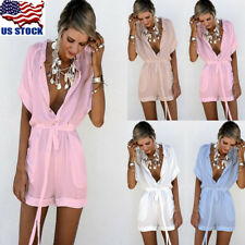 US Womens Deep V-Neck Short Sleeve Summer Fashion Casual Short Jumpsuits Rompers
