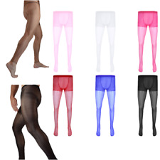Sexy Men's Pantyhose Lingerie Pouch Sheer Stockings Ultra-thin Tights Underwear