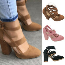 Women Suede Block High Heels Lace Up Ankle Strap Pumps Open Toe Party Shoes Size
