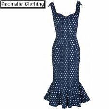 Lindy Bop Ariel Wiggle Dress Navy Blue with White Polka Dots - Rockabilly Pinup