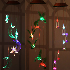 Garden Solar Power Color Changing LED Decorative Hummingbird Wind Chime Spinner