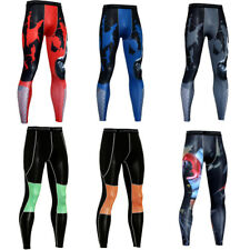 Mens Running Compression Tights Skin Base Layer Athletic Printed Pants Tight fit