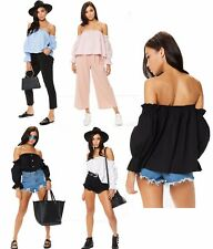 New Womens Bardot Button Up Front Detail Ruched Hem Bell Frill Sleeve Ladies Top