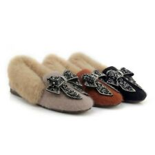 Bowknot Strass Korean Fashion Women Rabbit Fur Shaggy Loafers Supple Flats Shoes