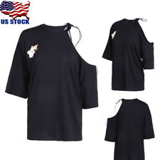US Womens Casual Lace Up Tie Cold Off Shoulder Short Sleeve Tops Blouse T Shirt