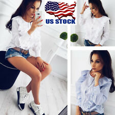 US Women Ruffle T-Shirt Long Sleeve Tops Ladies Button Shirt Blouse Pullover Tee