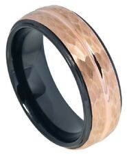 8mm Tungsten Wedding  Ring Two tone Black IP Inside Rose Gold IP Hammered Finish
