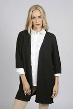 Charcoal Grey Cashmere Duster Cardigan sweater women MADE IN ITALY