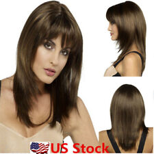 Women Medium Short Long Blonde Brown Straight Natural Hair Wigs Cosplay Party US