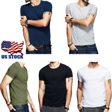 Fashion Men Slim Fit Cotton V-Neck / O-Neck Short Sleeve Casual T-Shirt Tops USA