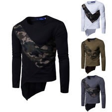 Mens Tee Shirt Slim Fit O Neck Long Sleeve Muscle Casual Irregular Tops T Shirts