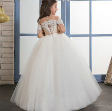 One Neck Lace Princess Gowns Flower Girl Dress Wedding Party Birthday Bridesmaid