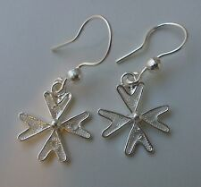 925 Sterling Silver Filigree Maltese Cross Earrings with hook New Style!!