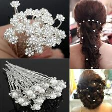 20Pcs Fashion Crystal Pearl Wedding Hair Pins Flower Bridal Hairpins Bridesmaid