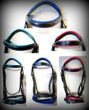 Accented Brow band & Nose band Black English Bridle PONY Pink/ Blue/ Teal SALE!