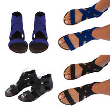 Womens Zipper Bandage Sandals Flats Gladiators Ankle Strappy Open Toe Shoes Size