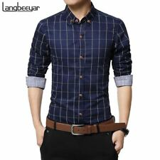 Fashion Brand Men Clothes Slim Fit Men Long Sleeve Shirt Men Plaid Cotton Casual