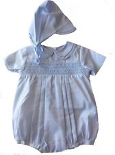 Petit Ami Baby Boys Romper with Hat Blue Smocked NWT Newborn Size