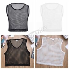 Sexy Men's Mesh Sheer Fishnet GYM Muscle Tank Top Fitted Clubwear Undershirt