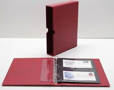 VARIO Red 3 Ring Binder w 20 Double Pocket Pages for Stamp Collecting & Other