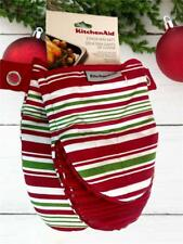 KitchenAid 2 Mini Hand Oven Mitts Silicone Grip Christmas Holiday Stripe Set