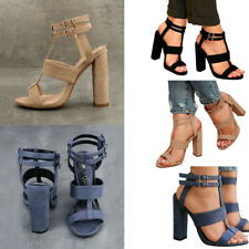 Fashion Women's Buckle Block High Heels Sandals Open Toe Ankle Strap Shoes Size