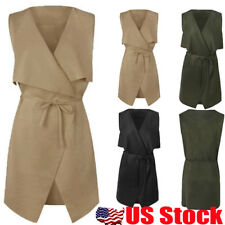 USA Women Sleeveless Coat Cape Belted Waterfall Cardigan Waistcoat Trench Jacket