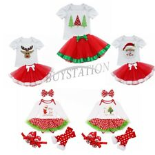 Infant Baby Girl Tutu Skirt Dress Christmas Santa Deer Outfits Xmas Clothing Set
