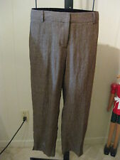 MISSES BROWN DELAVE LINEN SIGNATURE FIT CAPRI PANTS TALBOTS 8 $99