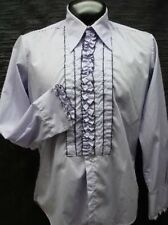 VINTAGE RUFFLED TUXEDO TUX SHIRT RETRO PURPLE  WITH  BLACK TRIM MADE IN USA